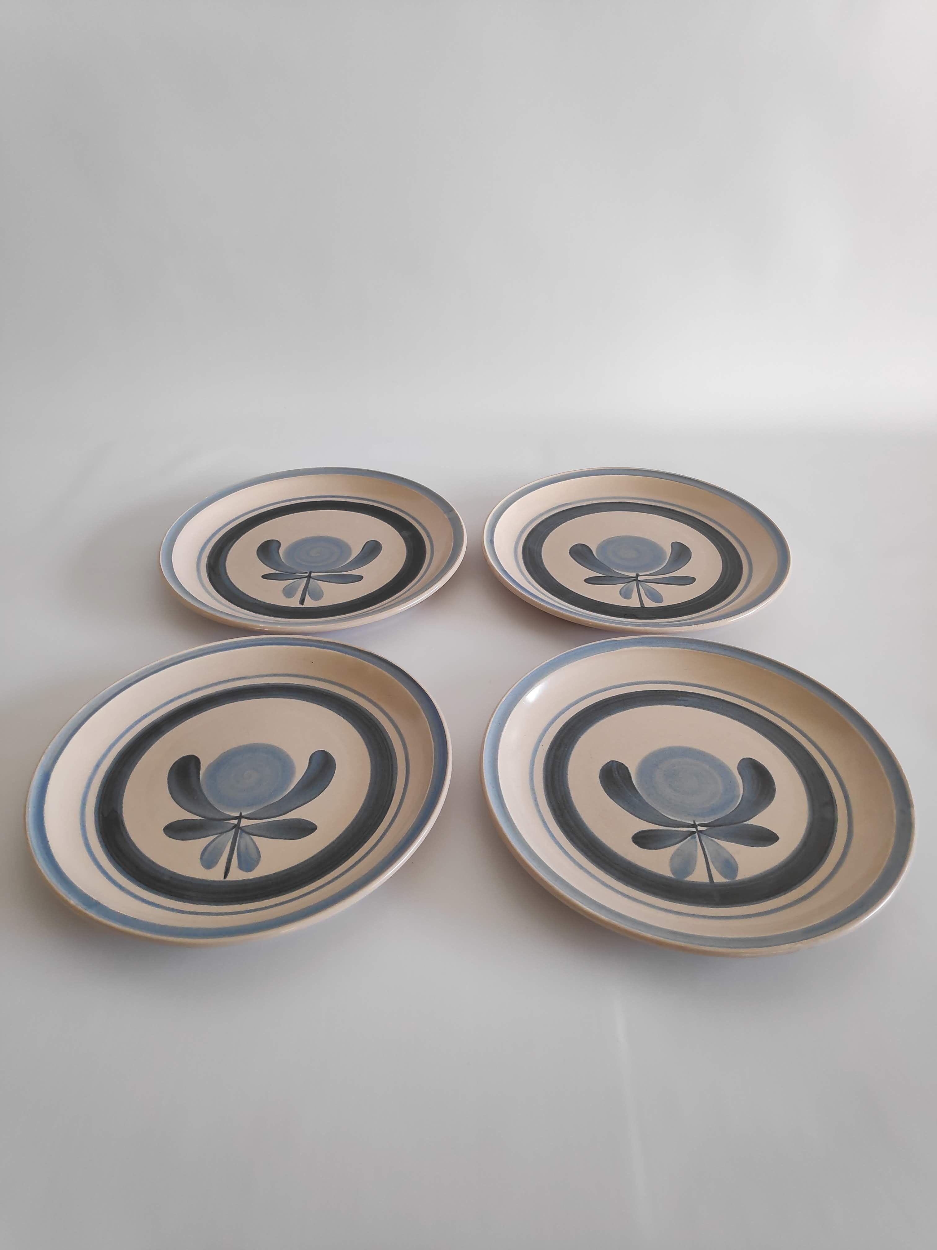 4 Plates Flat Vintage 70s Decor Ancona Gien Selency