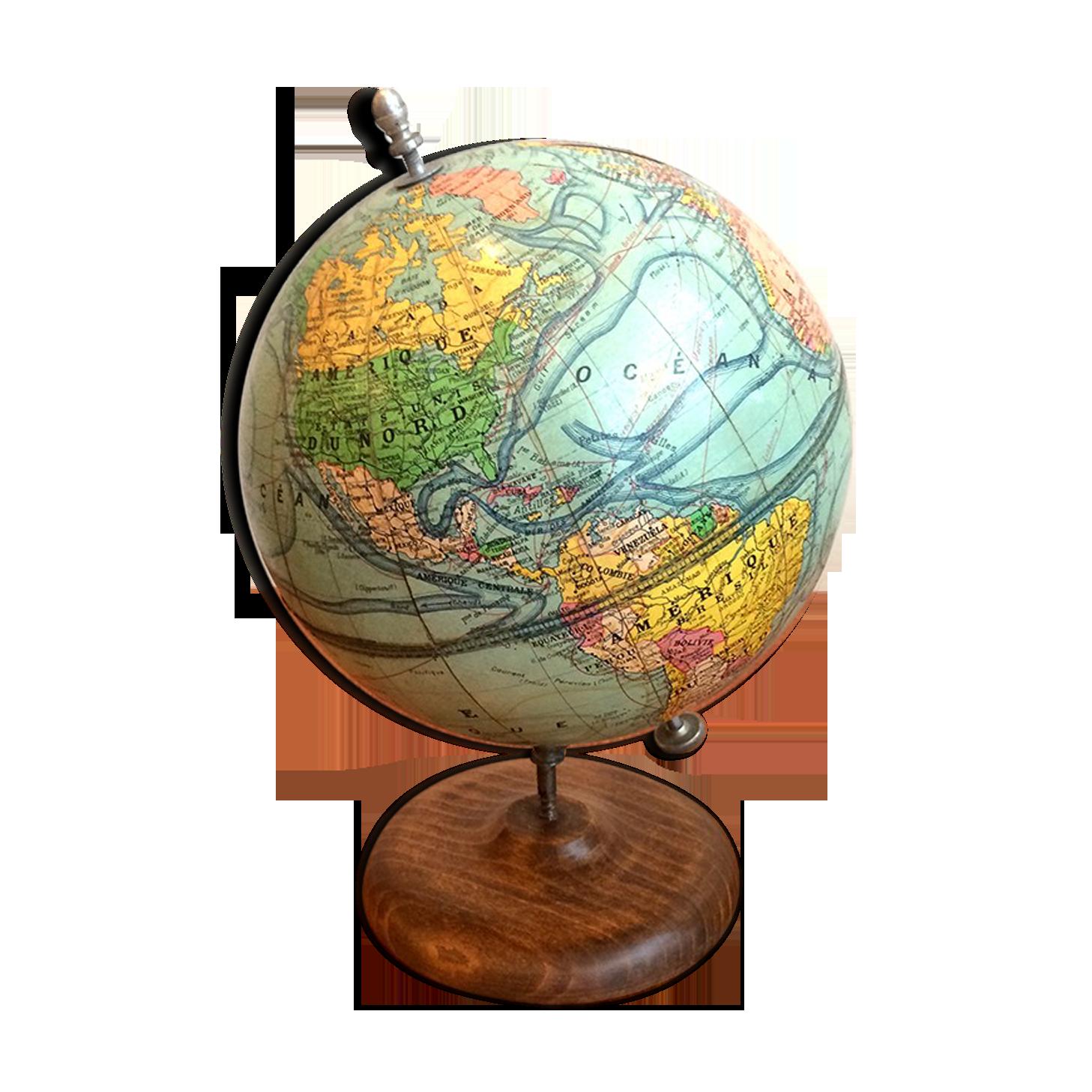 Style Antique Globe Sur Support En Bois