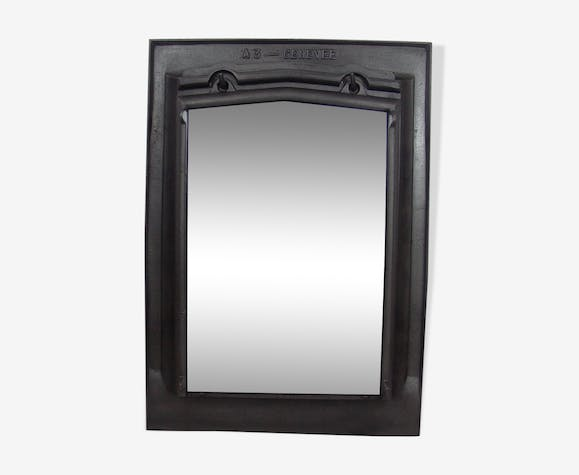 Former industrial cast iron mirror, 50x71cm