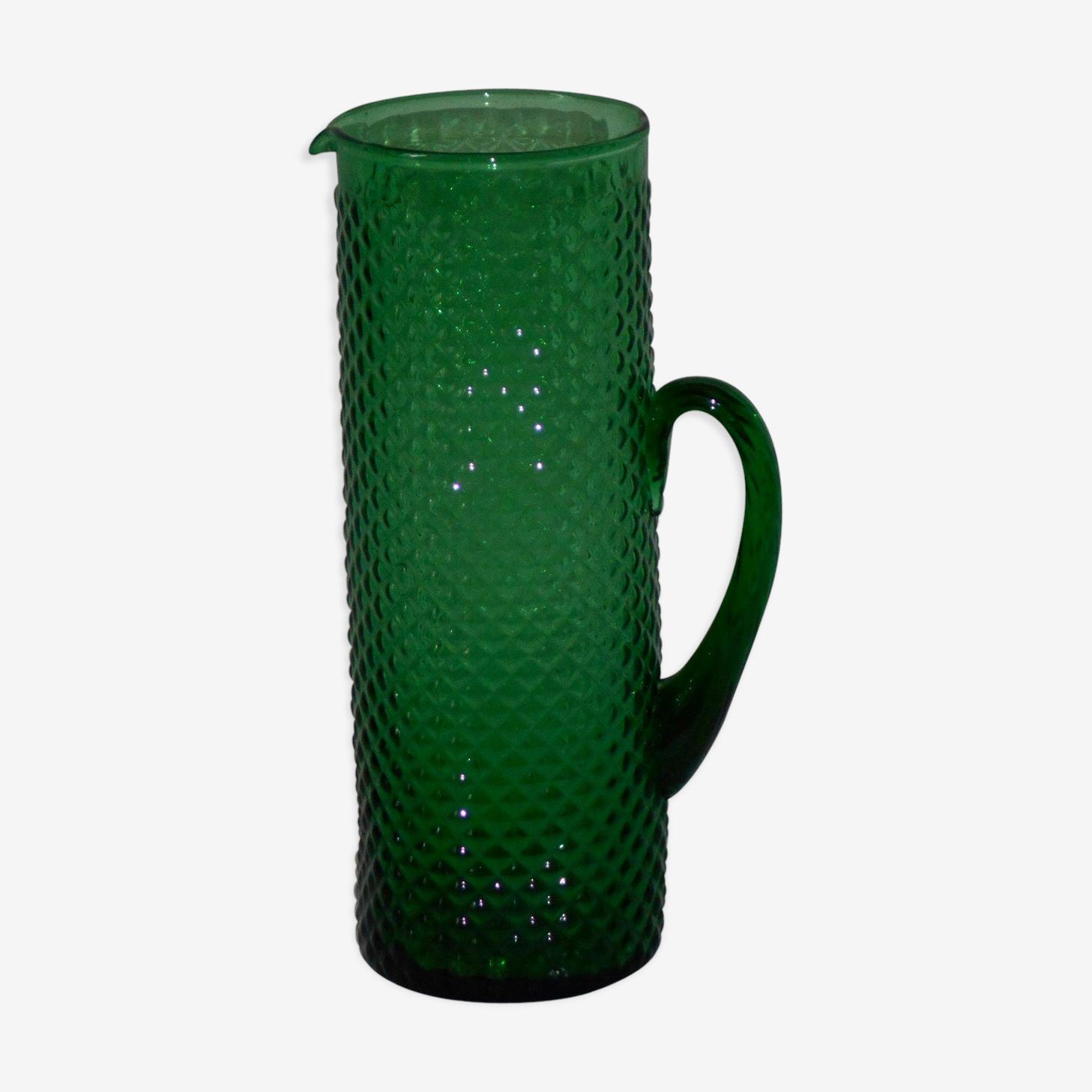 Broc vintage verre couleur vert émeraude
