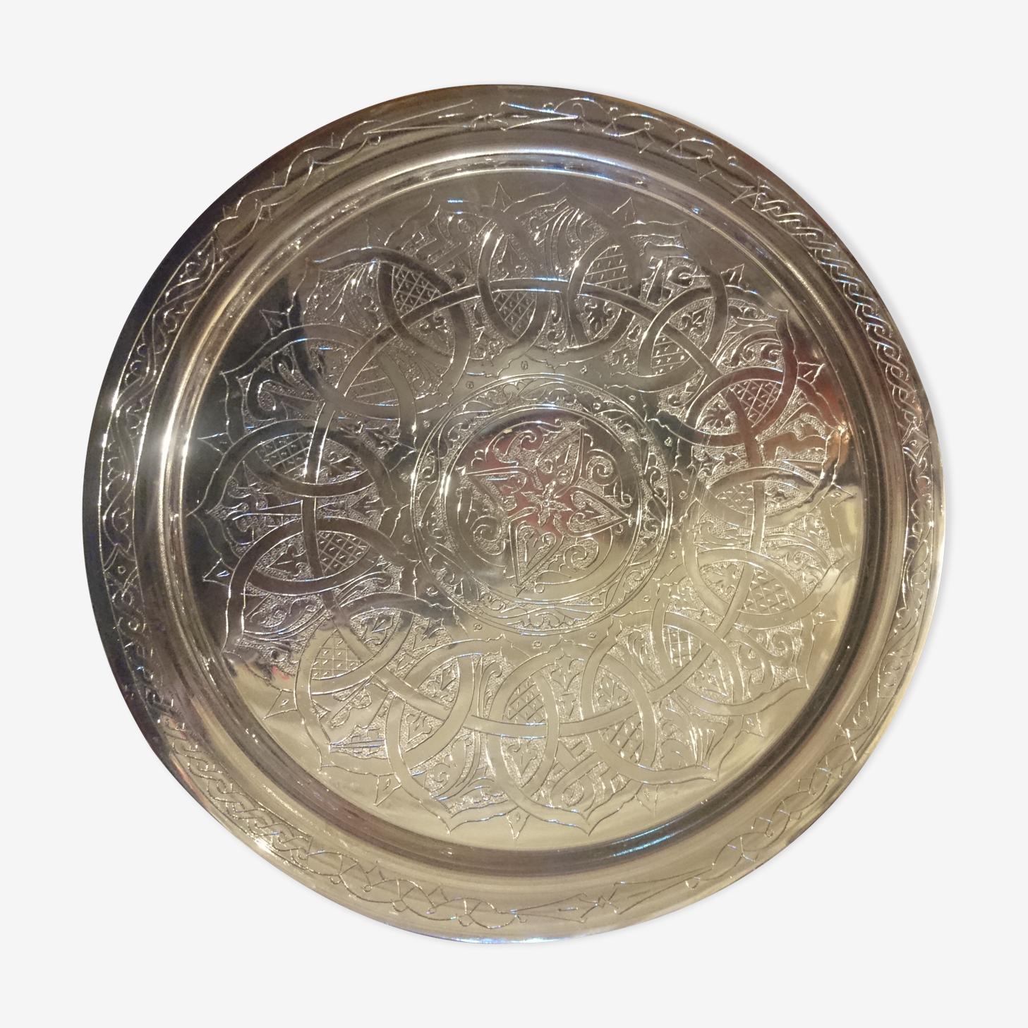 Plateau en cuivre gravé à la main 39cm