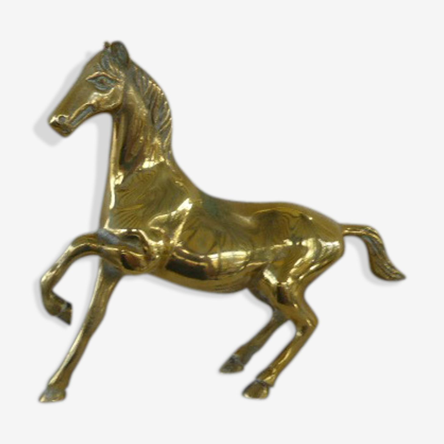 Statuette de cheval en laiton doré vintage 1970