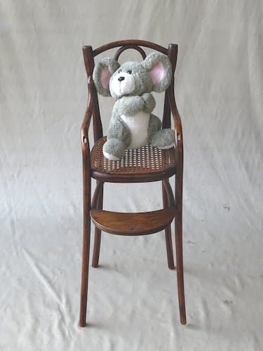 Doll chair around 1900 curved wood, cannage