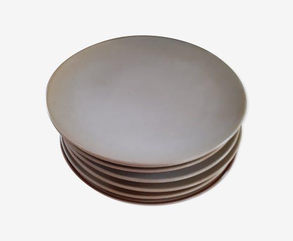 6 assiettes en grès gris Village CNP France