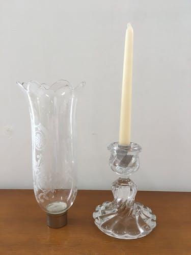 Photophore, bougeoir bambou cristal de Baccarat