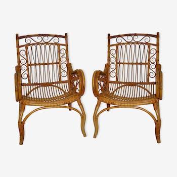 Set de 2 fauteuils rotin vintage