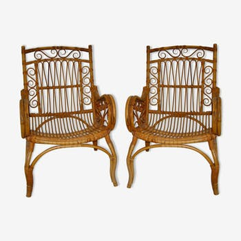 Lot of 2 vintage rattan armchairs