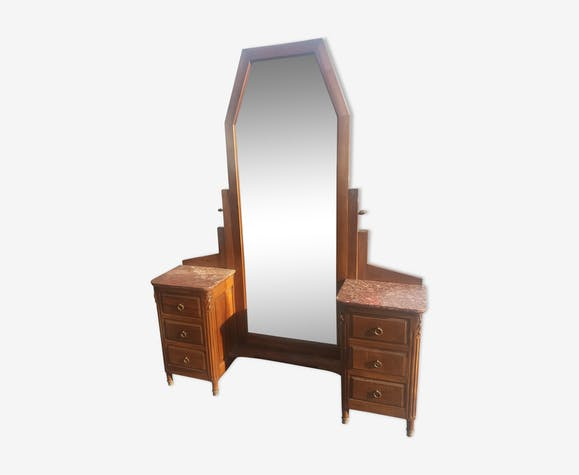 Art Deco dressing table in walnut and red Languedoc marble
