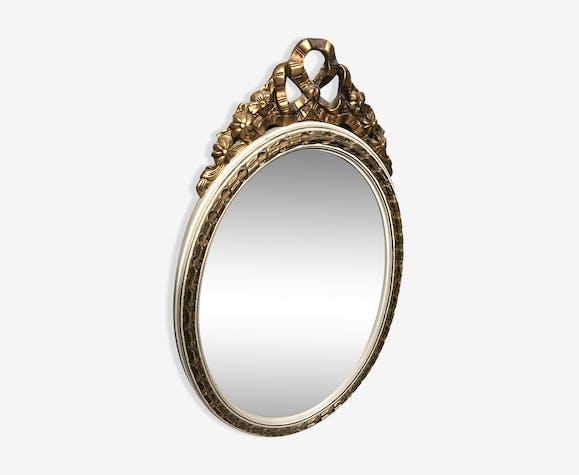 Miroir ovale style Louis XVI doré 53x90cm
