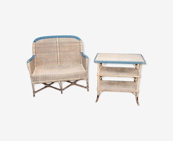 Fauteuil et table de jardin en rotin - rotin et osier - bois ...