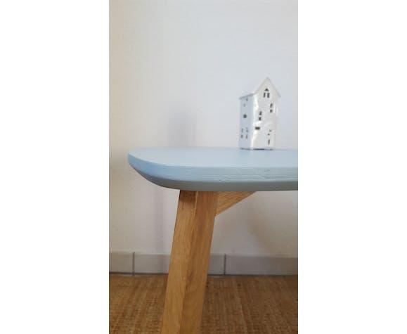 Table basse scandinave tripode, chêne massif