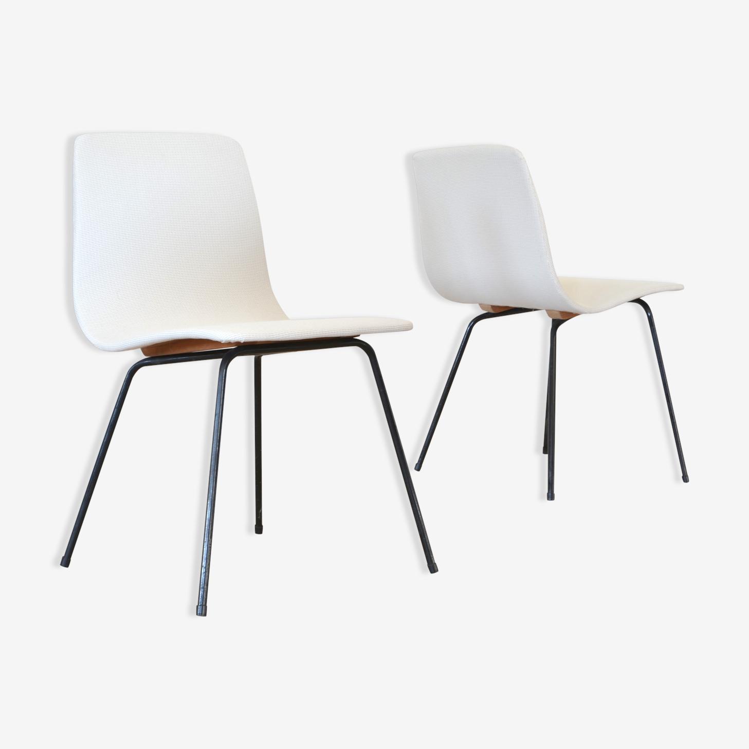 """Paire de chaises """"papyrus"""" de Pierre Guariche Steiner 1950"""