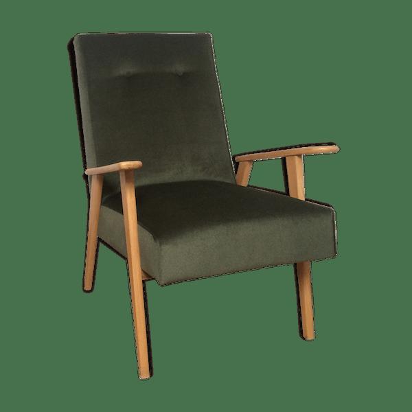 fauteuil scandinave ann e 50 60 velours vert kaki velours vert scandinave b5jo7mp. Black Bedroom Furniture Sets. Home Design Ideas