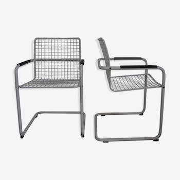 70s metal wire armchairs