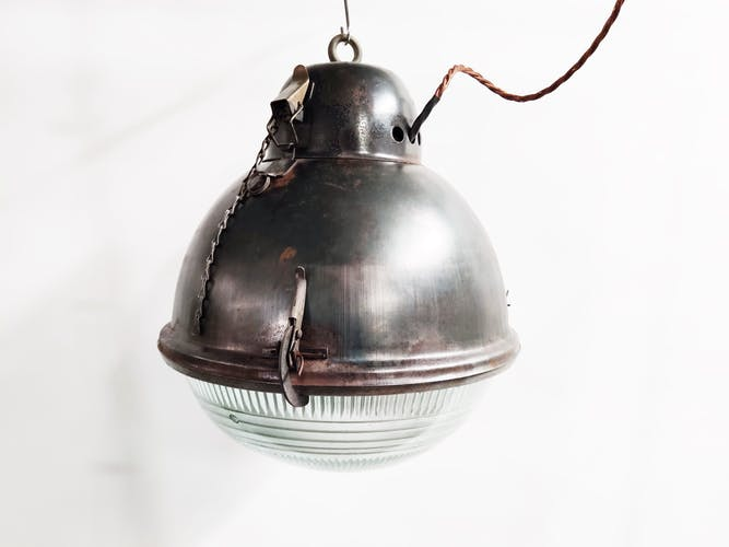 Industrial lamp with glass, 1930s
