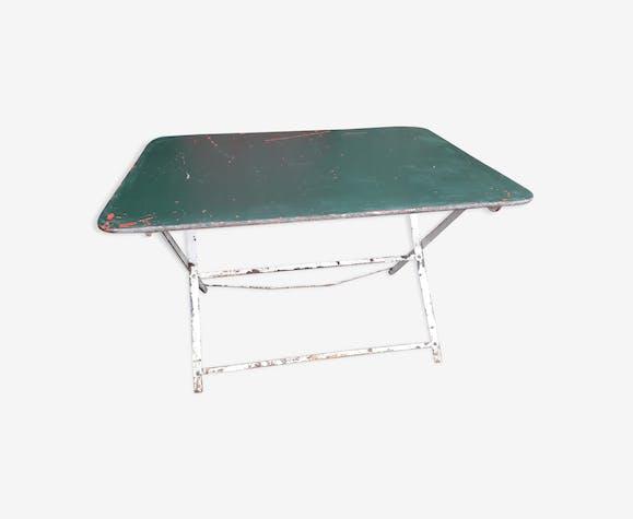 Table de jardin pliante - métal - vert - vintage - nQxoKVD
