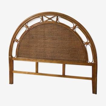 Tête de lit en rotin fait main patine antique