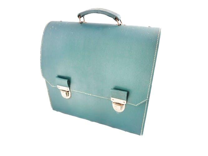 Machine à écrire Olympia AEG Dactymétal De Luxe Jaune révisée ruban neuf avec valise verte