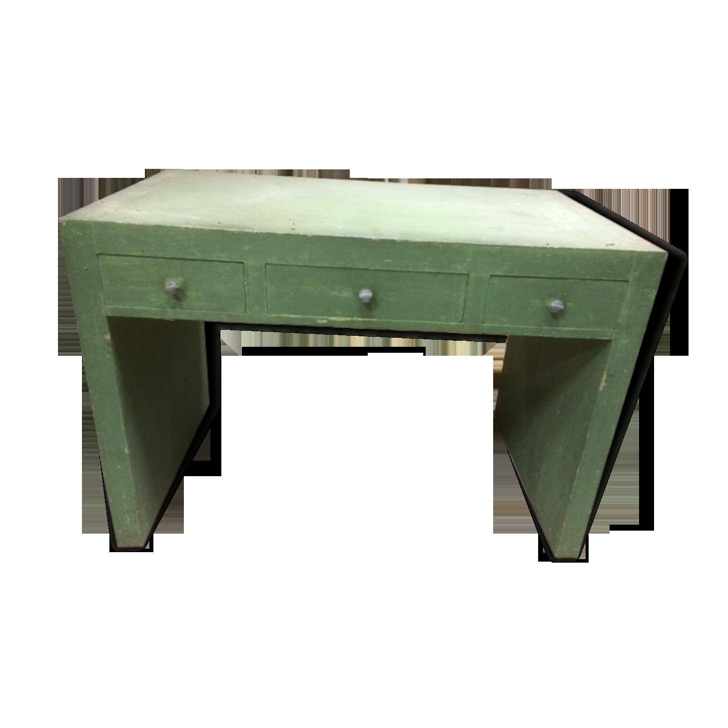 Bureau en bois peint bois matériau vert vintage wo lcgn