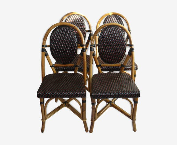 s rie de 4 chaises bistrot terrasse parisienne en rotin rotin et osier marron vintage. Black Bedroom Furniture Sets. Home Design Ideas