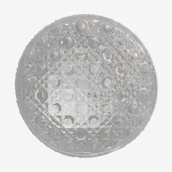 Plafonnier rond verre moulé transparent avec socle métal blanc vintage #1