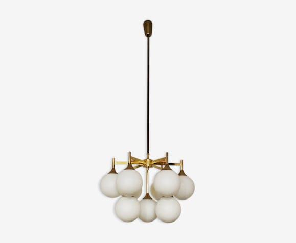 Brass and opaline glass Sputnik chandelier by Kaiser Leuchten