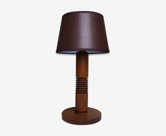 Art deco oak bedside lamp