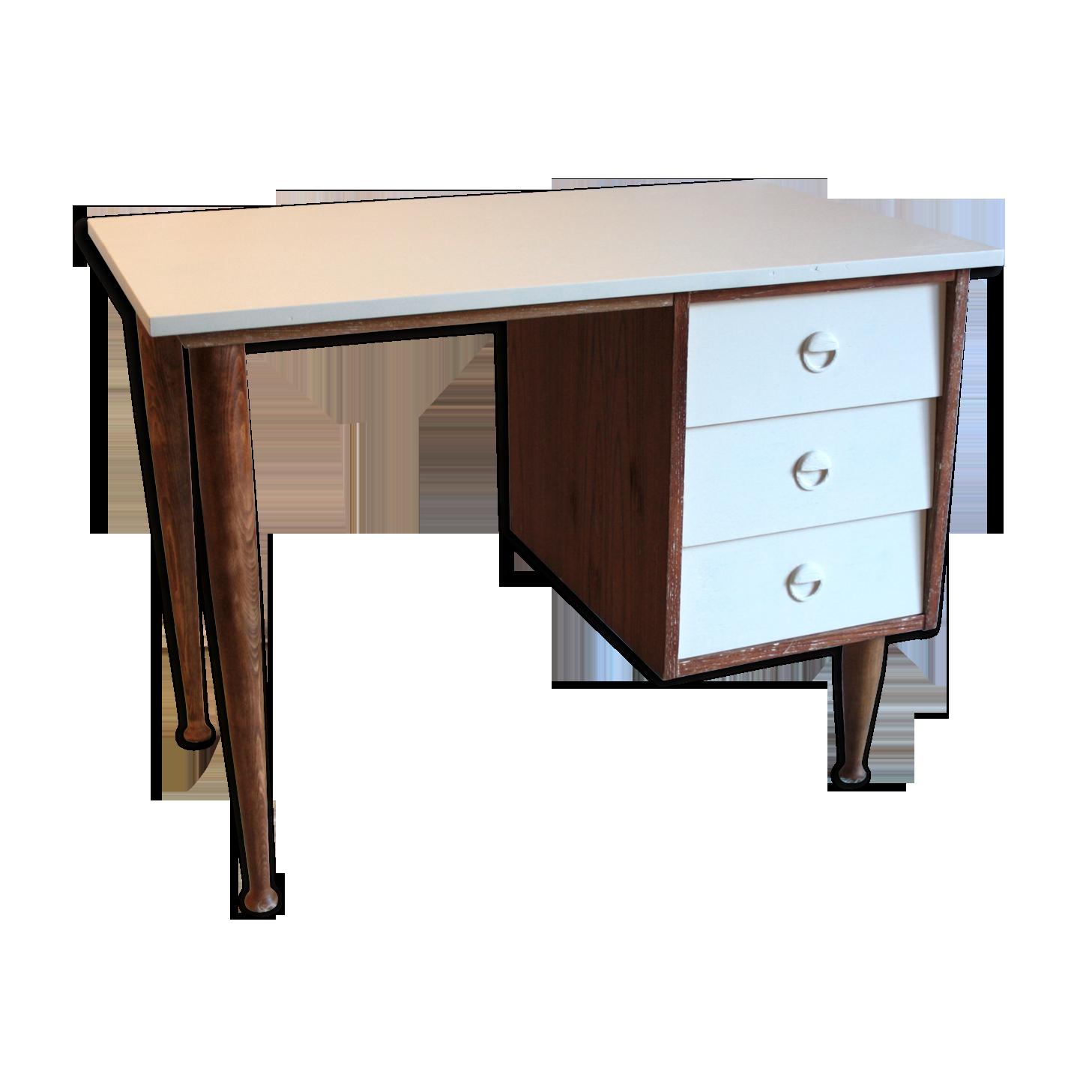 Bureau scandinave teck blanc u s bois matériau bois