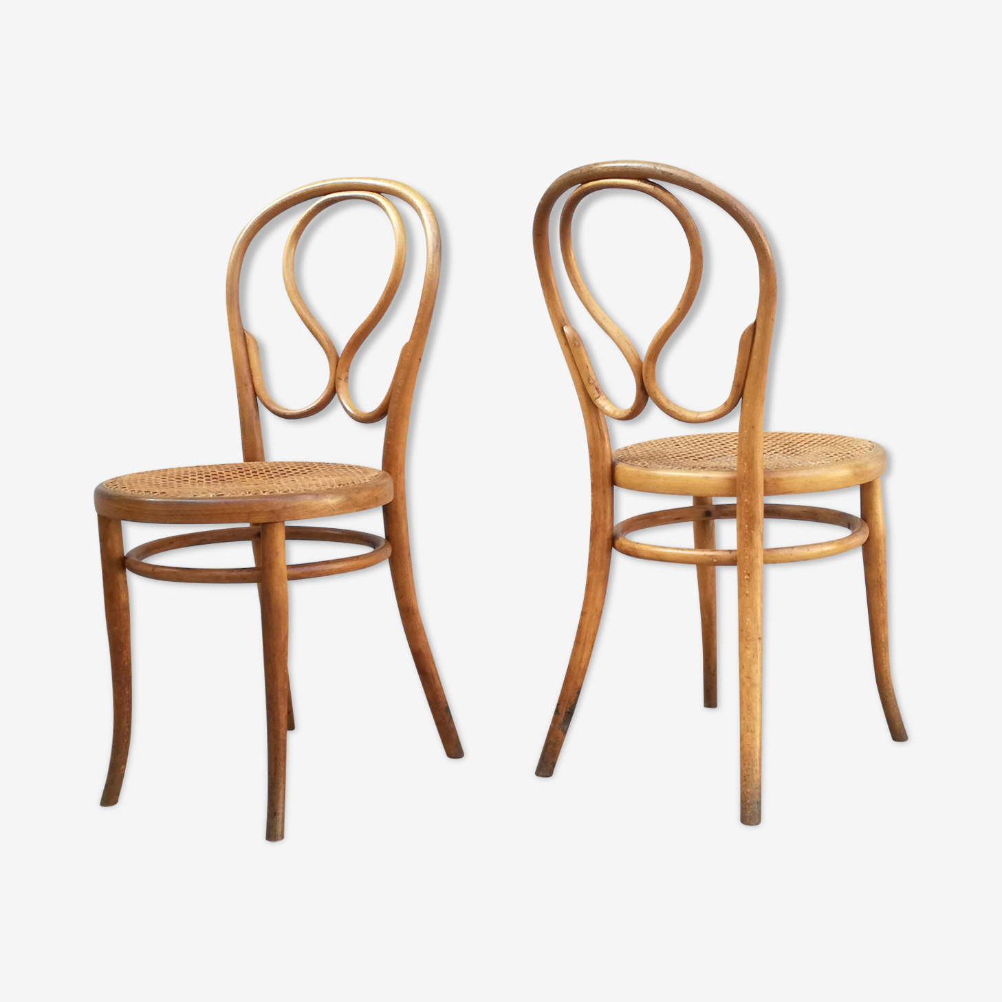 Duo of viennese bistro Thonet chairs
