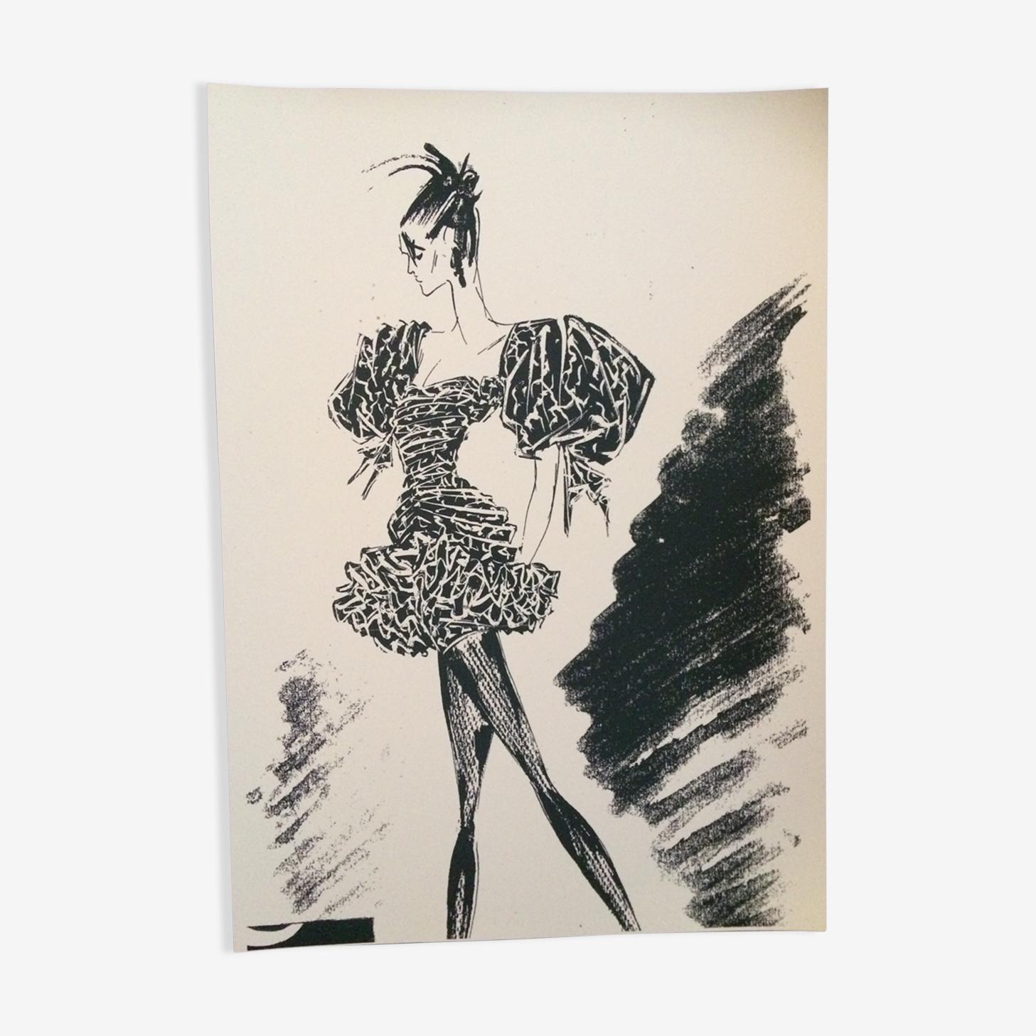 Illustration de mode de presse et sa photographie vintage Emanuel Ungaro