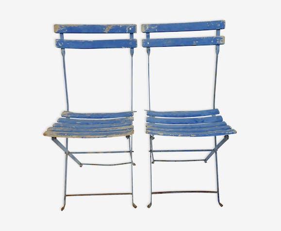 Paire de chaises de jardin anciennes, pliantes