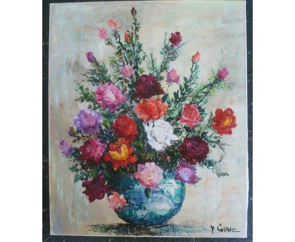 """Tableau Huile sur toile """"bouquet de roses"""" de Yves Gonec, peintre du XXè siècle."""