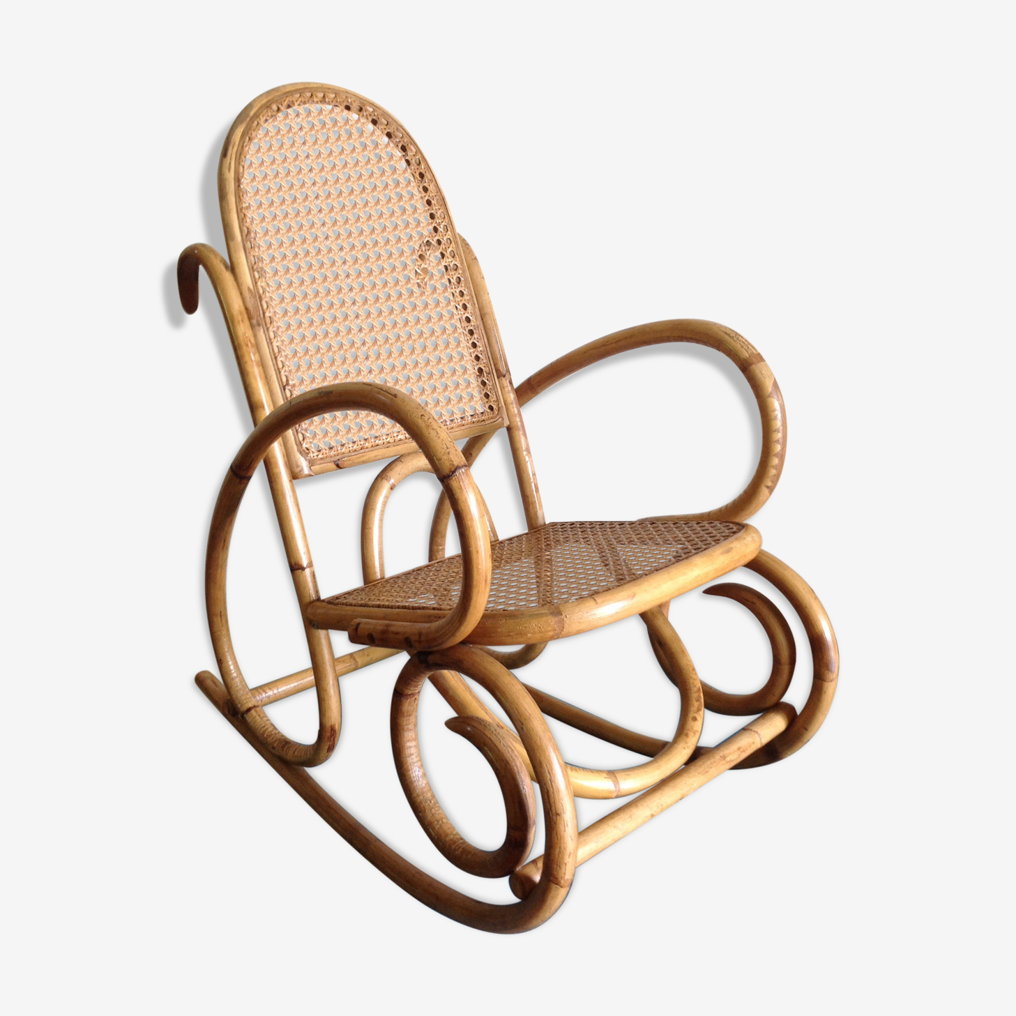 Rocking-chair enfant rotin osier cané rétro ancien vintage