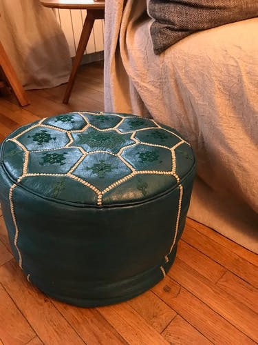 Moroccan green leather pouf