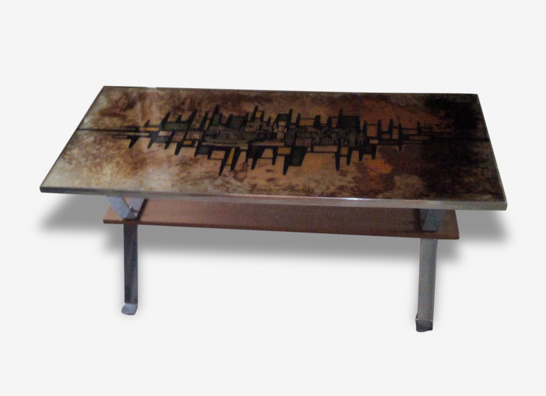 Table basse 70' vintage dorée