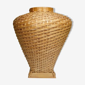 Vase boule en rotin vintage