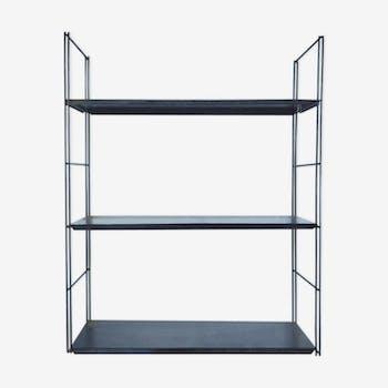 Patinated metal wall shelf