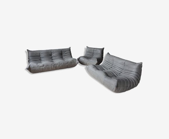 Set of 3 grey leather togo sofas by Michel Ducaroy for Ligne Roset