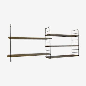 String Adjustable shelf unit wood and metal black vintage 60'