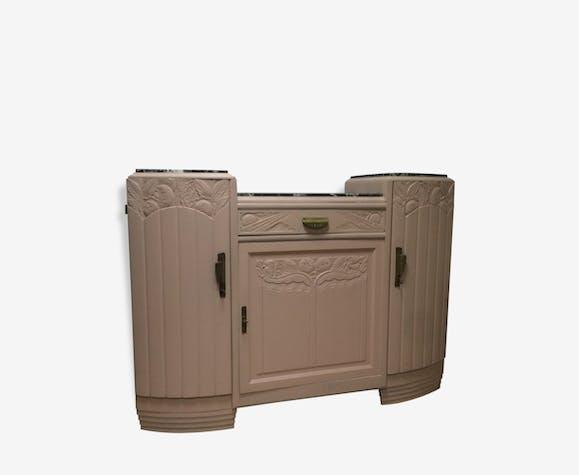 buffet art deco repeint en rose p le plateau marbre noir et blanc bois mat riau rose. Black Bedroom Furniture Sets. Home Design Ideas