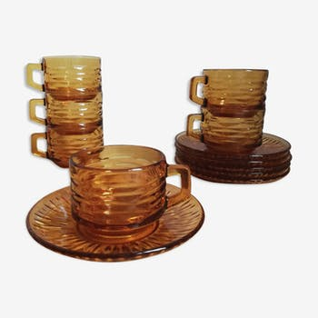 6 vintage original brown smoked Vereco coffee cups