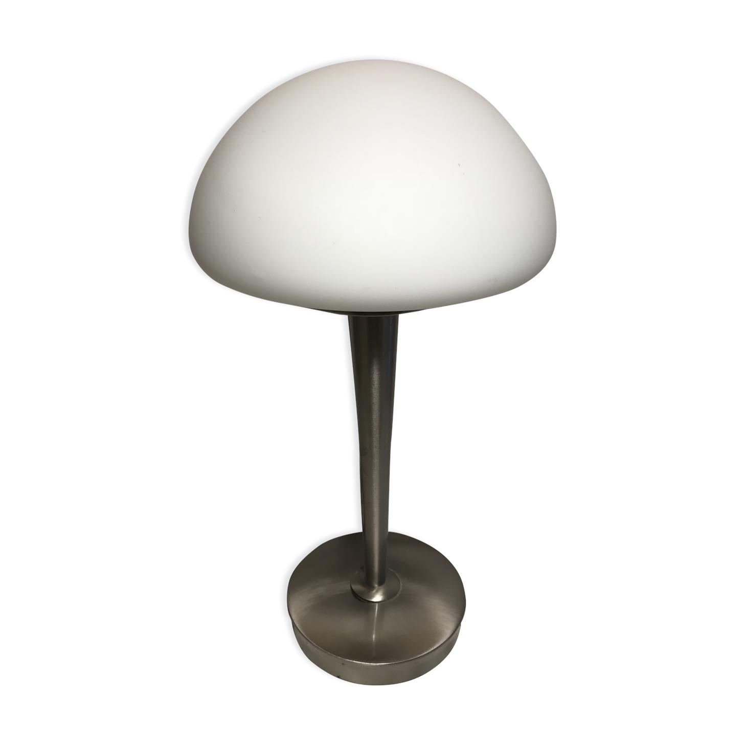 Lampe Champignon Lucide Années 70 Métal Chromé Et Opaline Blanc
