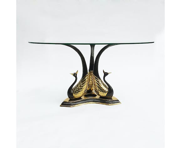Brass Peacock Side Or Coffee Table Hollywood Regency Willy