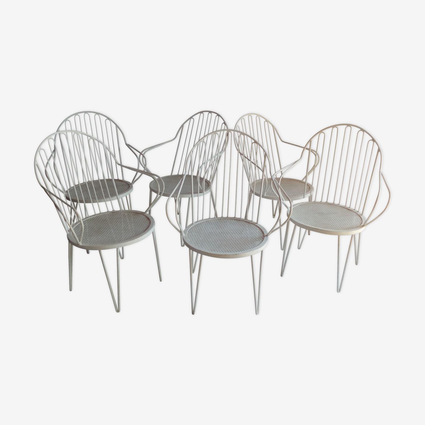 Lot de 6 fauteuils de jardin en métal années 50