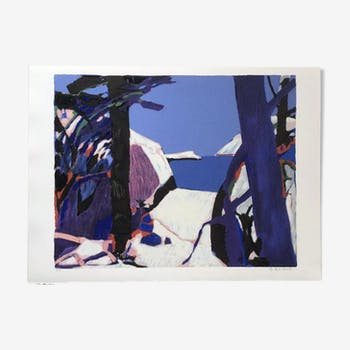 Original color litho 'Paysage bleu' by french artist Gabriel Godard