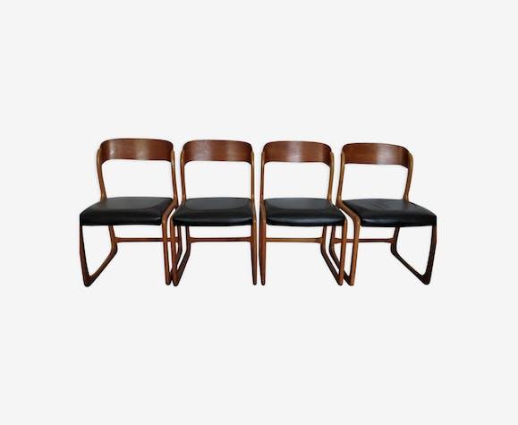 4 chaises bois traineau Baumann