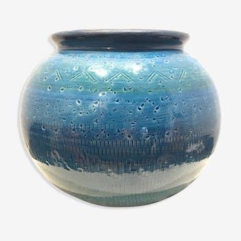 Vase céramique bleue Aldo Londi pour Bitossi