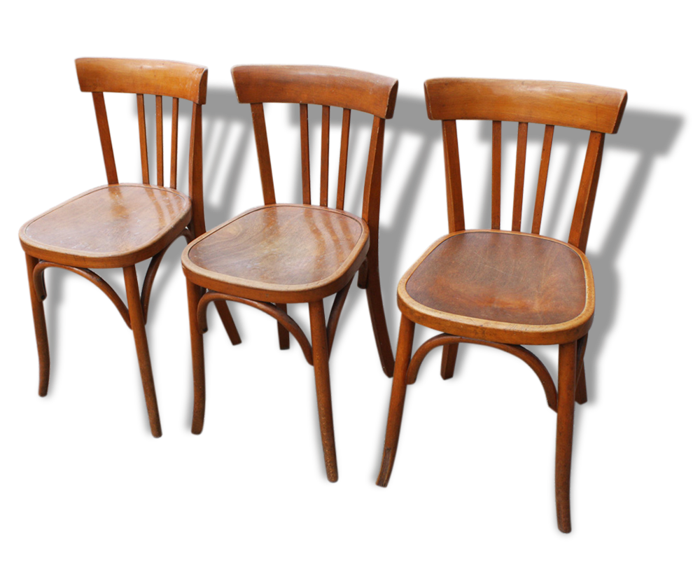 Fischel Chaise Trio De Chaises Bistrot Fischel Vintage Bois Courb With Fischel Chaise  # Chaise Bois Bistrot