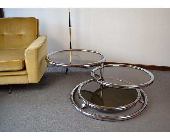 Table basse vintage à plateaux pivotants des années 70