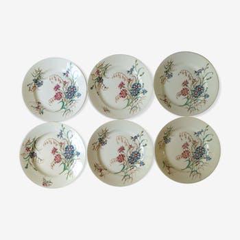 Set of 6 plates Blueberry decor Luneville France, 1900